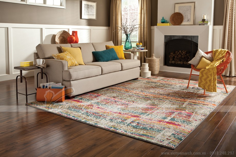 Thảm trải sàn phòng khách họa tiết đa màu sắc