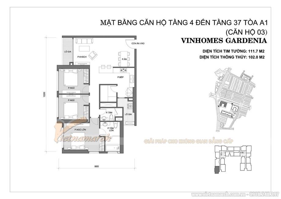 Mặt bằng căn hộ 03 tòa A1 chung cư Vinhomes Gardenia