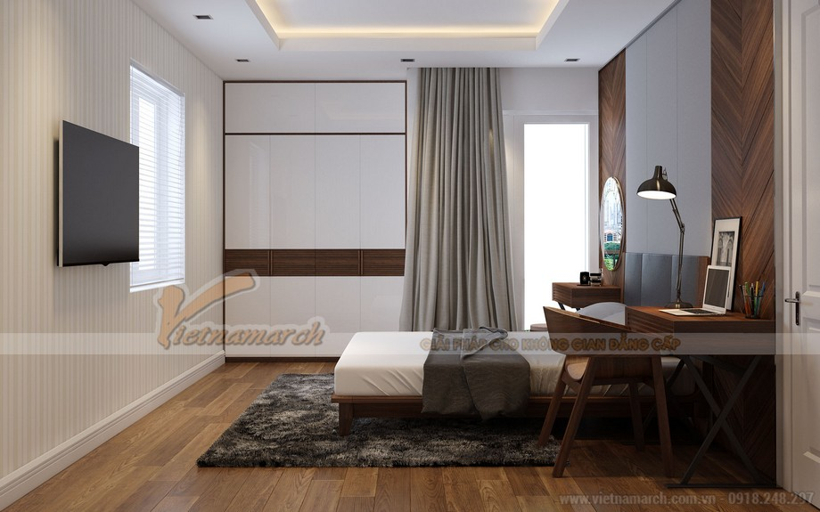 Thiết kế nội thất phòng ngủ căn 3 phòng ngủ tòa A1 Vinhomes Gardenia
