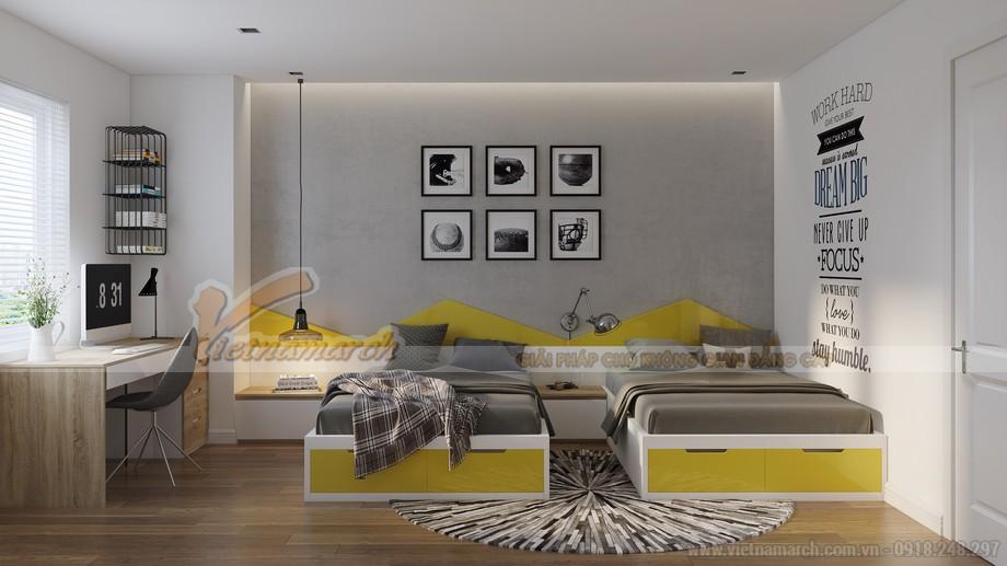 Giường đôi trong phòng ngủ của con - thiết kế nội thất căn hộ A1 Vinhomes Gardenia