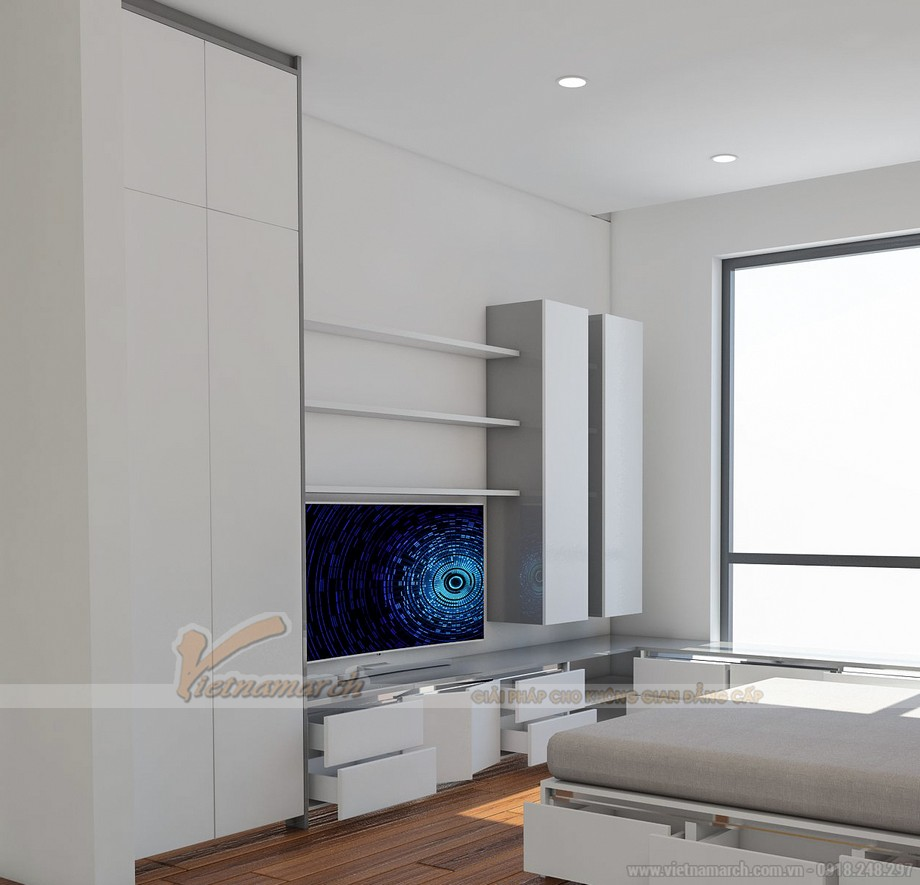 Phòng ngủ với nội thất thông minh