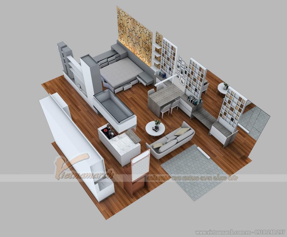 Mặt bằng thiết kế nội thất căn hộ 1 phòng ngủ tại Park 7 Times City
