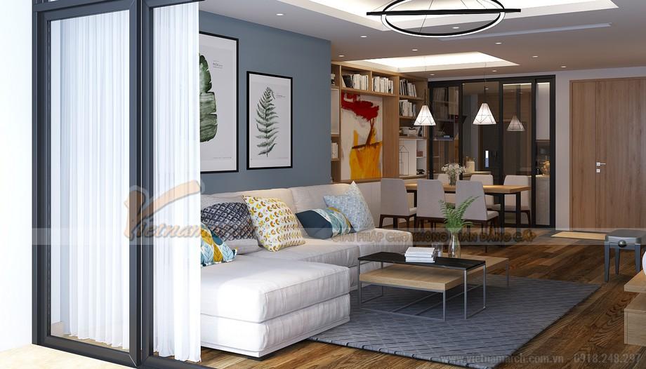 Thiết kế nội thất phòng khách hiện đại cho căn hộ Vinhome Skylake-01