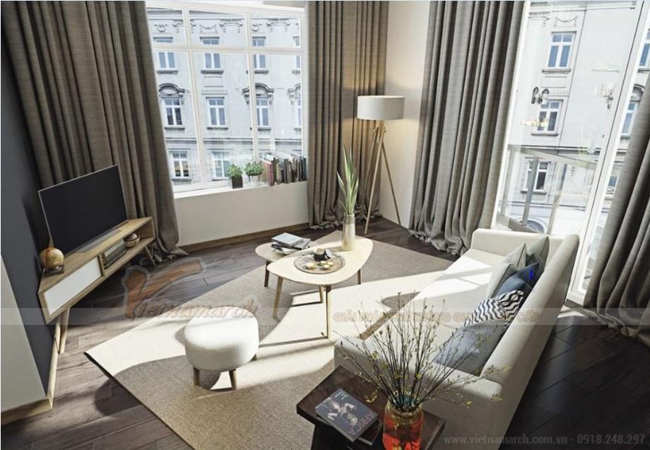 Thiết kế nội thất phòng khách hiện đại cho căn hộ Vinhome Skylake-02