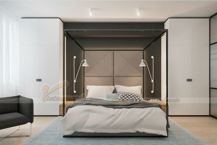 Thiết kế nội thất phòng ngủ đẹp lung linh cho căn hộ Vinhome Skylake-02