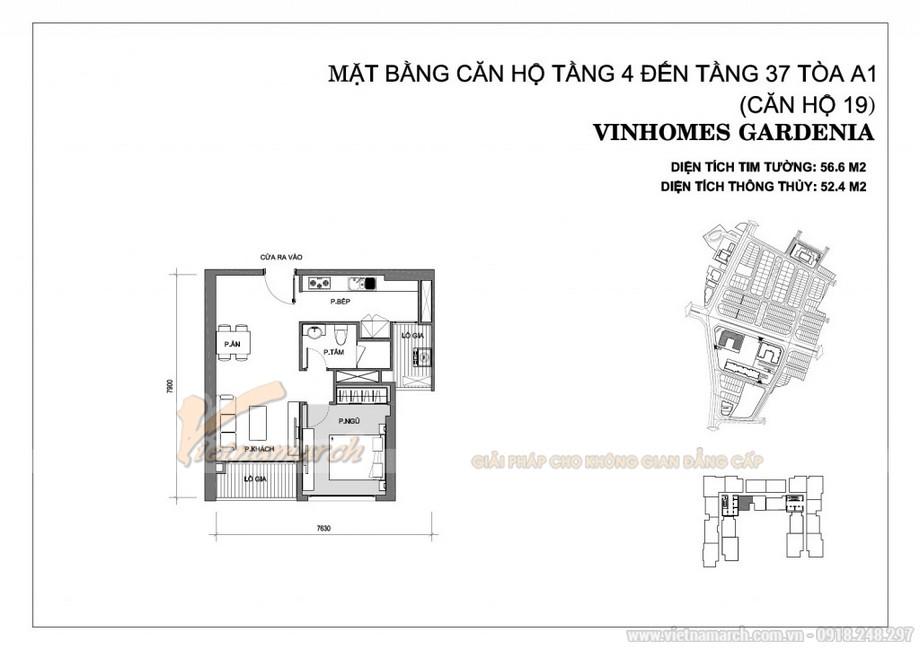 Mặt bằng căn hộ số 19 tòa A1 chung cư Vinhomes Gardenia