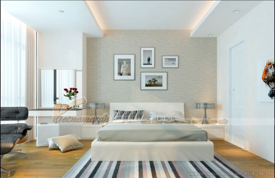 Không gian nội thất phòng ngủ căn 1 phòng ngủ tòa A1 chung cư Vinhomes Gardenia