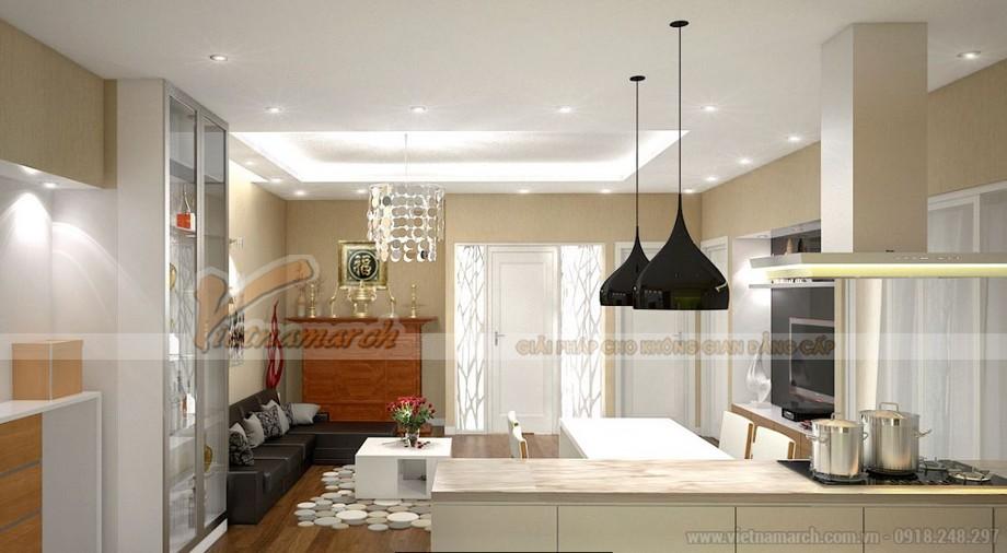 Không gian nội thất phòng khách + bếp căn 1 phòng ngủ tòa A1 chung cư Vinhomes Gardenia