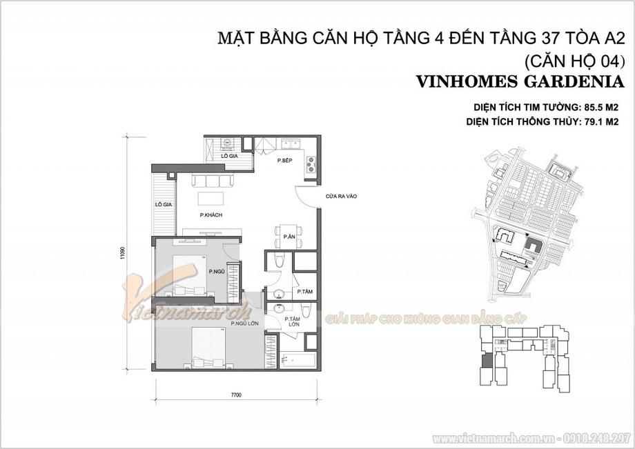 Mặt bằng căn hộ số 04 tòa A2 chung cư Vinhomes Gardenia