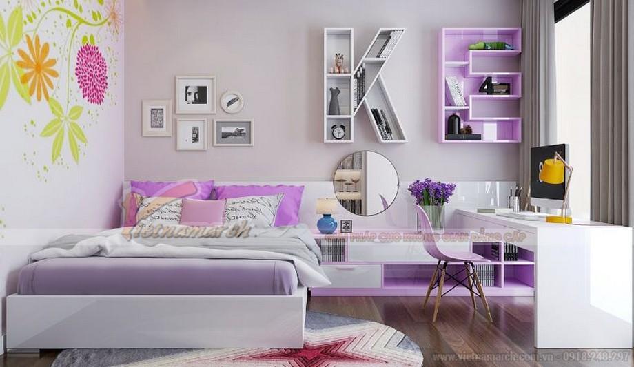 Không gian nội thất phòng ngủ phụ cho trẻ của căn hộ 04 tòa A2 chung cư Vinhomes Gardenia