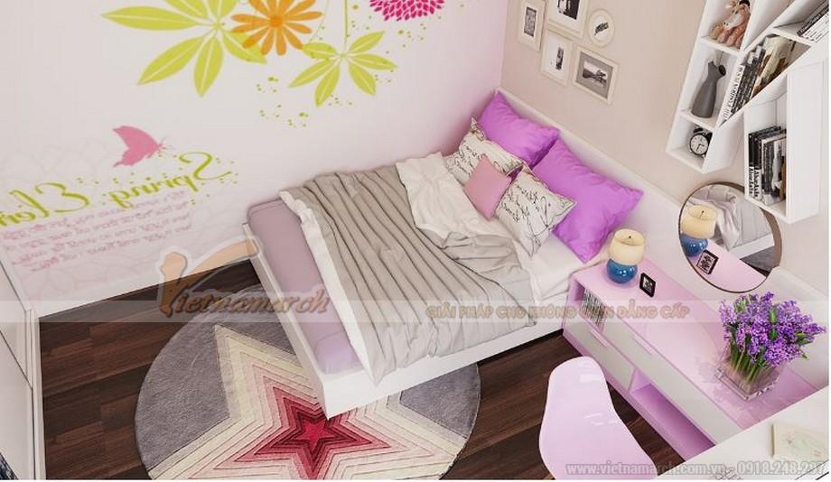 Không gian nội thất phòng ngủ phụ của căn hộ 2 phòng ngủ chung cư Vinhomes Gardenia