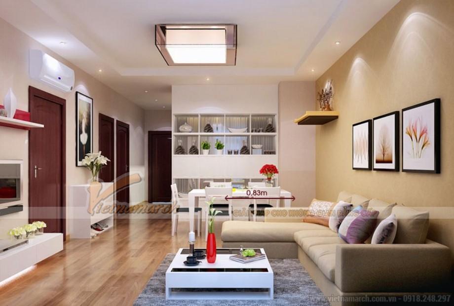 Không gian nội thất phòng khách căn hộ 04 tòa A2 Vinhomes Gardenia