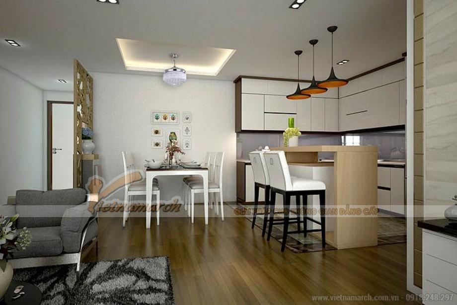 Phòng khách, bếp nấu và phòng ăn thông nhau
