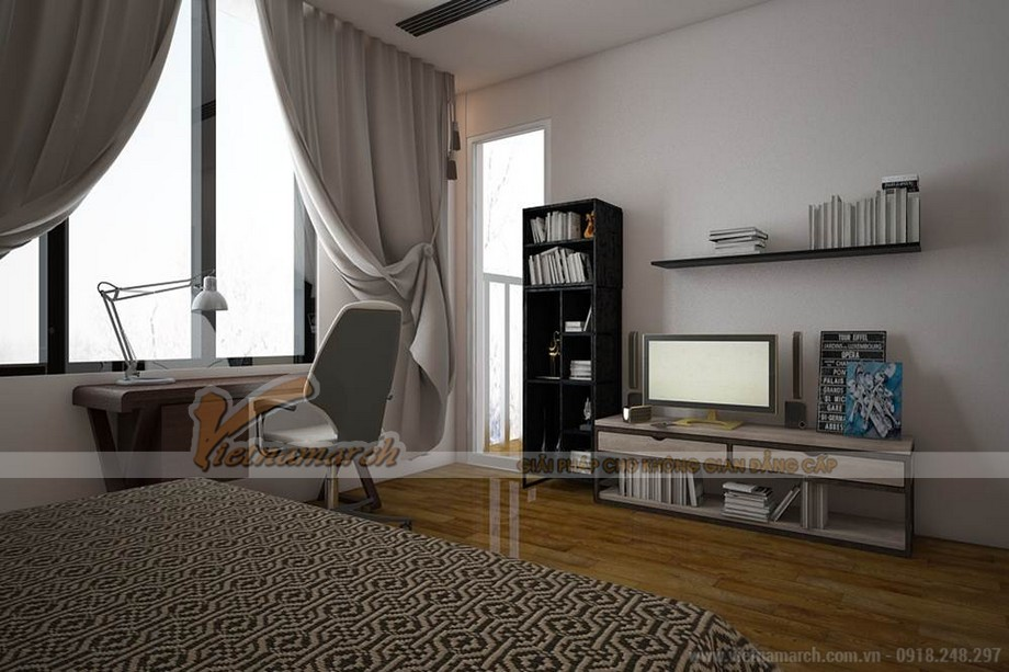 Phòng ngủ master đầy đủ tiện nghi nhưng vẫn rộng và thoáng nhờ cách bố trí đồ nội thất khoa học.