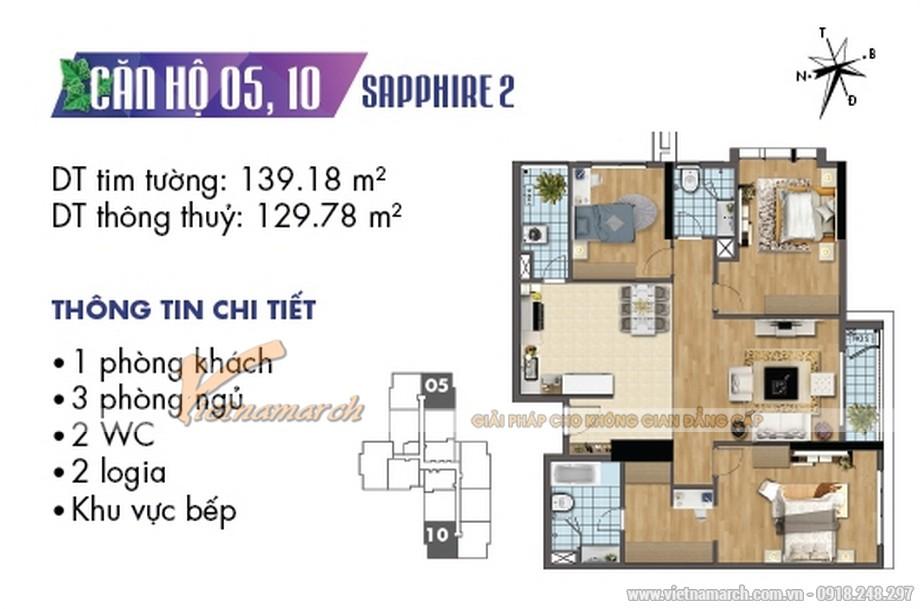 mặt bằng căn hộ 05,10 tòa Sapphire 2 chung cư Goldmark City