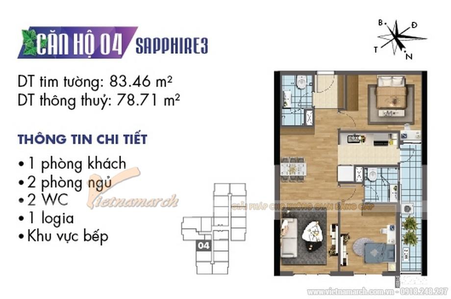 Mặt bằng thiết kế căn hộ 04 tòa Sapphire 3 chung cư Goldmark City