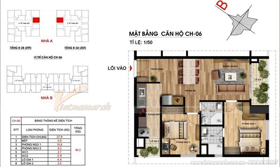 Mặt bằng căn hộ 06 chung cư Imperia Garden - căn hộ 2 phòng ngủ