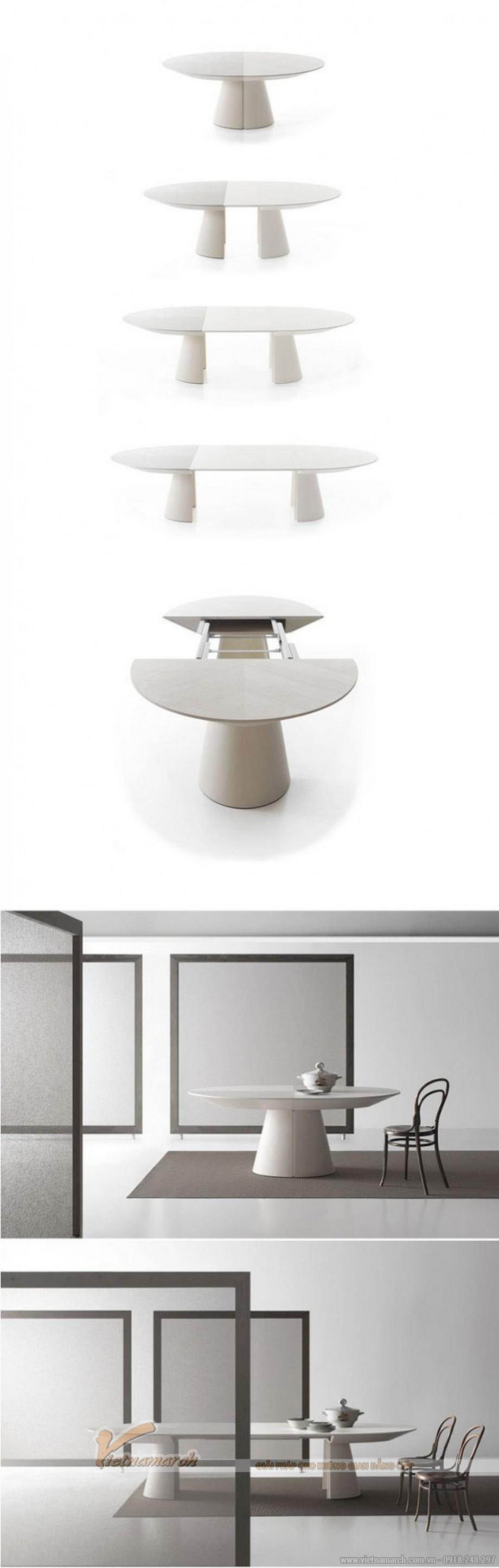 Mẫu bàn thông minh này vừa là bàn trà vừa có thể kéo dài làm bàn ăn