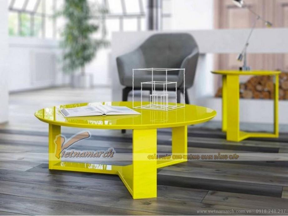 Mẫu bàn trà tròn 3 chân thiết kế ấn tượng