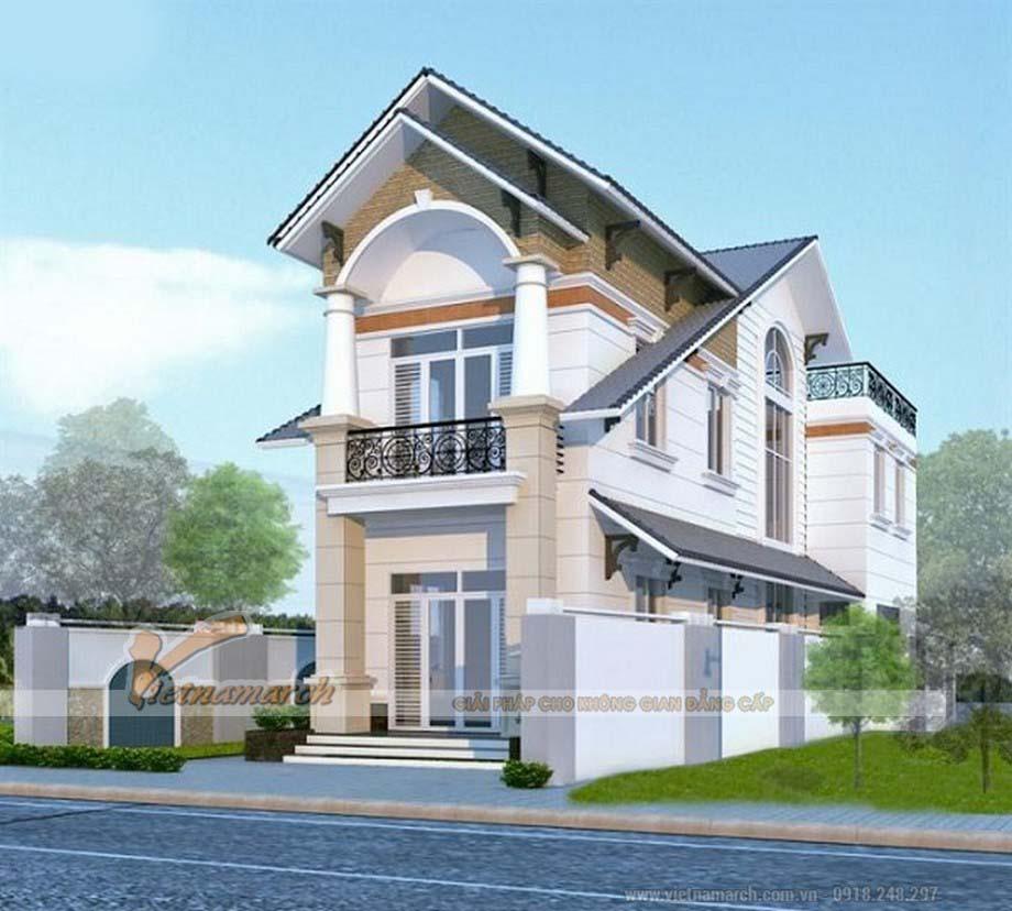 Mẫu nhà ống hai tầng sử dụng mái thái với cách thiết kế mái đặc biệt giúp tô điểm thêm cho ngôi nhà