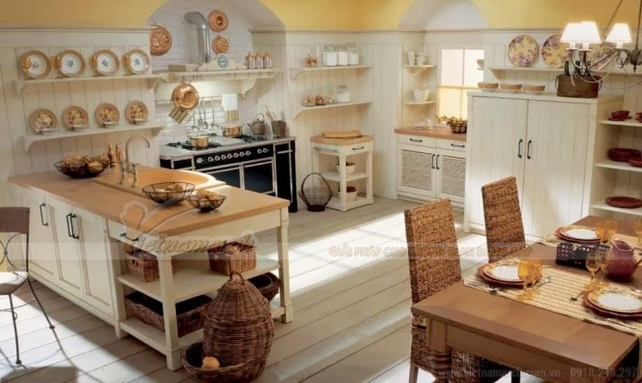 Nhà bếp được thiết kế mang phong cách đồng quê
