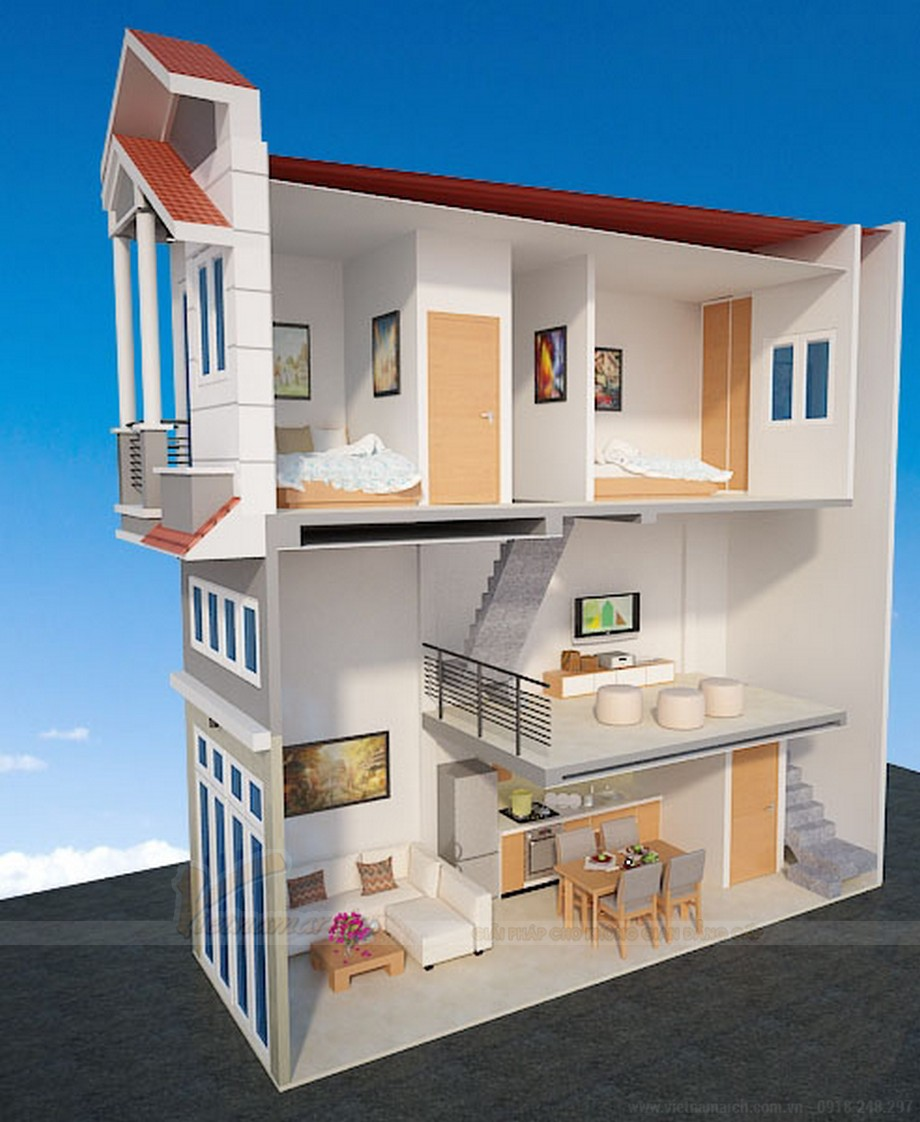 Mặt bằng bố trí nội thất nhà ống 3 tầng mái thái.