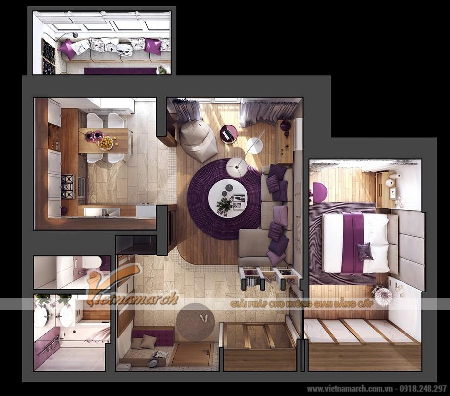 Mặt bằng thiết kế nội thất cho căn hộ chung cư Goldmark City