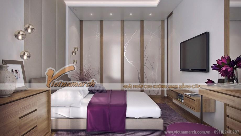Phòng ngủ đơn giản nhưng không tẻ nhạt, mà rất ấm cúng nhờ tone màu tím mộng mơ.