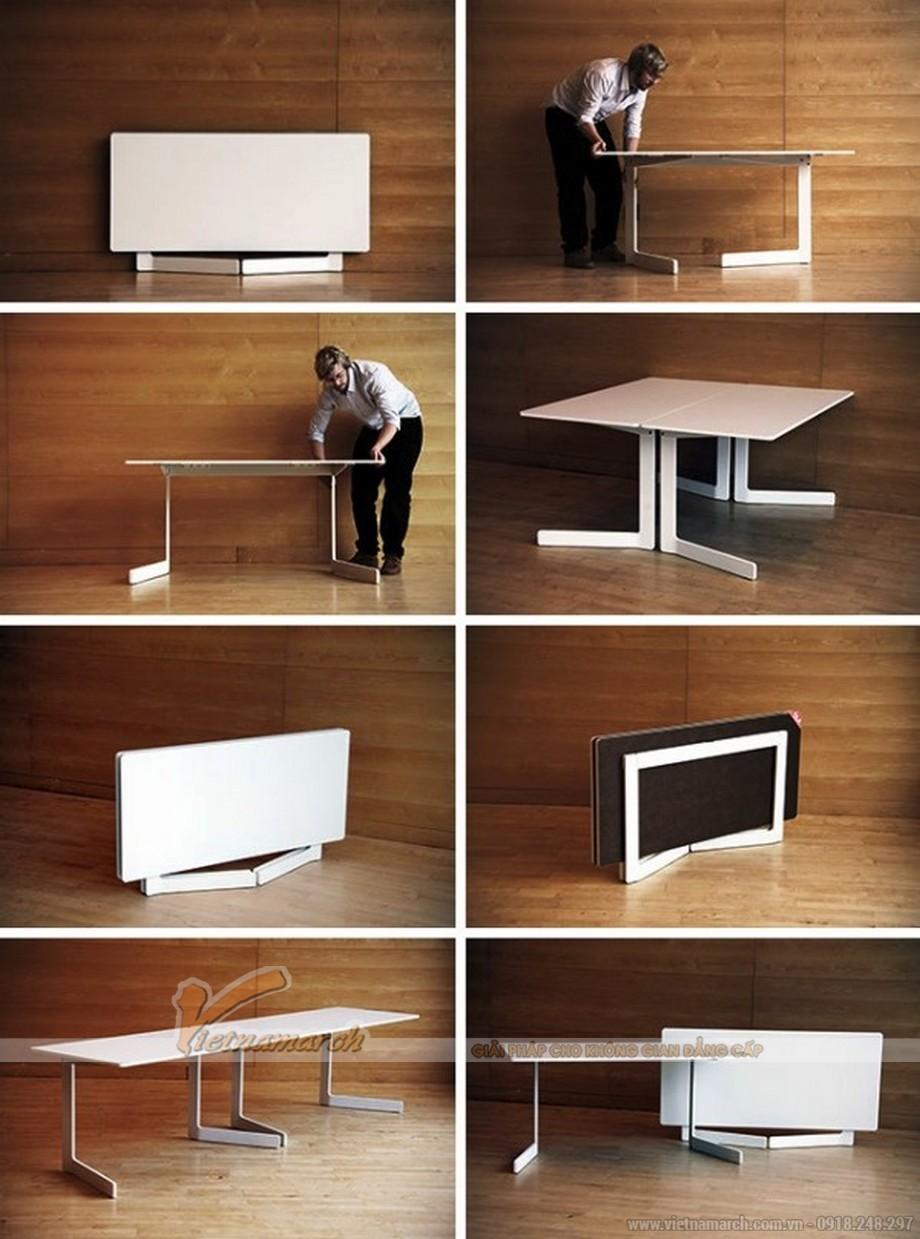 Mẫu bàn được thiết kế vô cùng thông minh giúp tiết kiệm diện tích