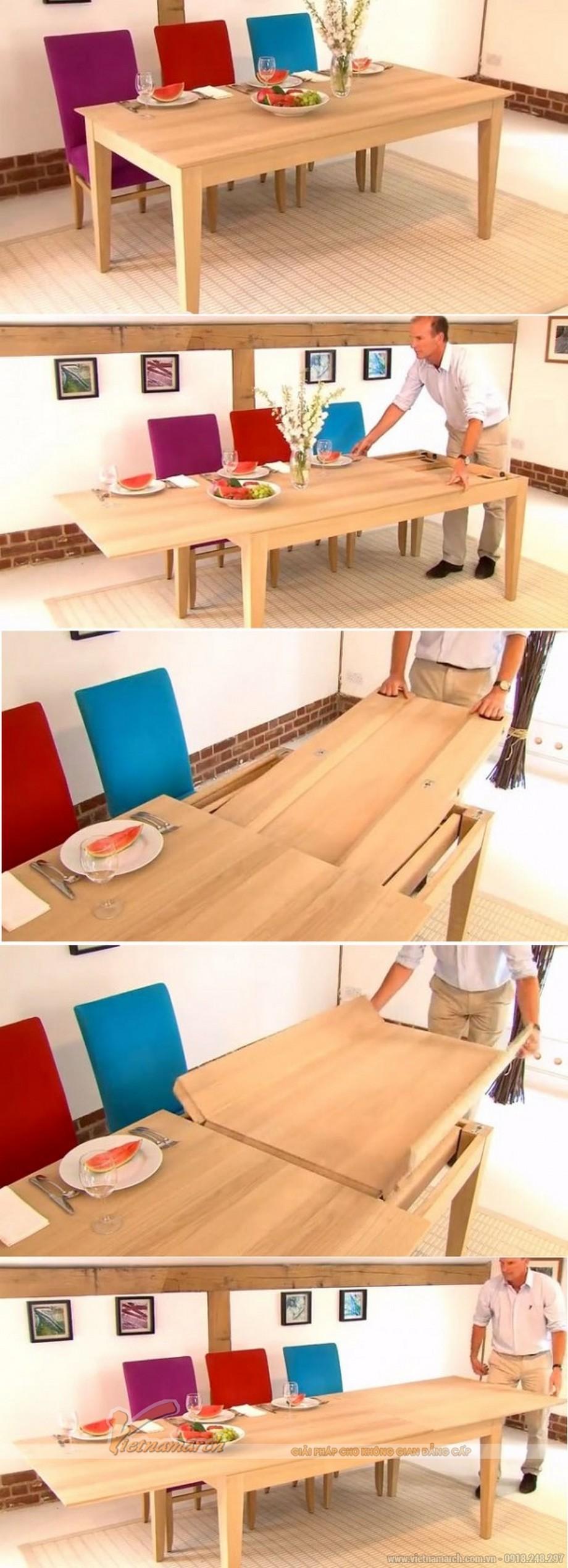 Chiếc bàn ăn nhỏ có thể kéo dài ra thành bàn ăn cho nhiều người