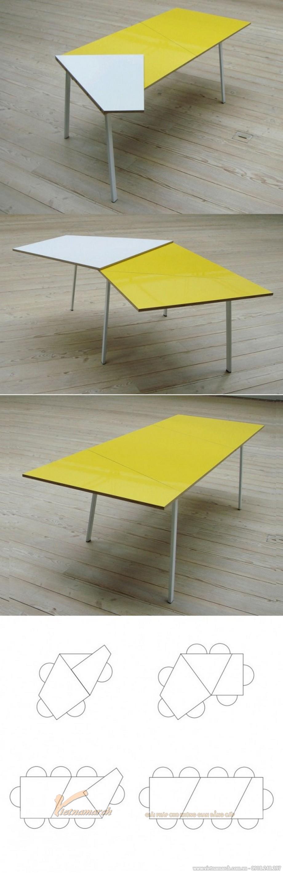 Mẫu bàn này có thể thu nhỏ hay mở rộng làm bàn ăn cho 4 đến 10 người