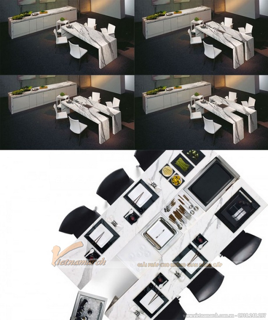Còn mẫu bàn ăn này có thể tự tách đôi để mở rộng diện tích để đồ trên mặt bàn