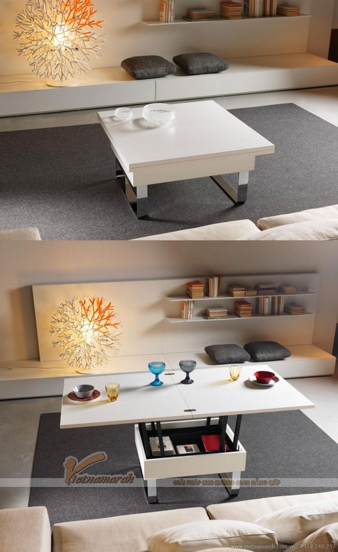 Mẫu bàn sofa được nâng lên thành bàn ăn vô cùng tiện lợi