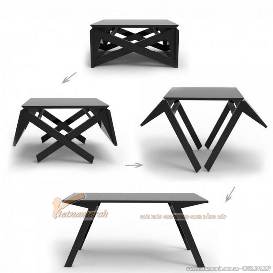 Mẫu bàn thông minh có thể gập vào và mở ra để trở thành chiếc bàn ăn đơn giản, gọn nhẹ.