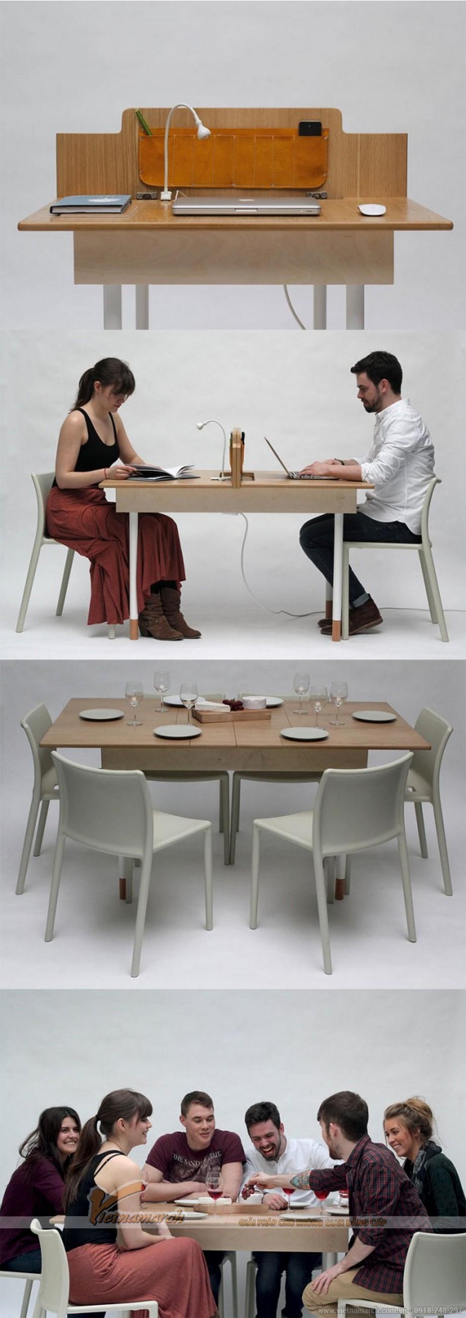 Bạn sẽ không biết gọi là bàn học, bàn làm việc cho 2 người hay bàn ăn đây nhỉ