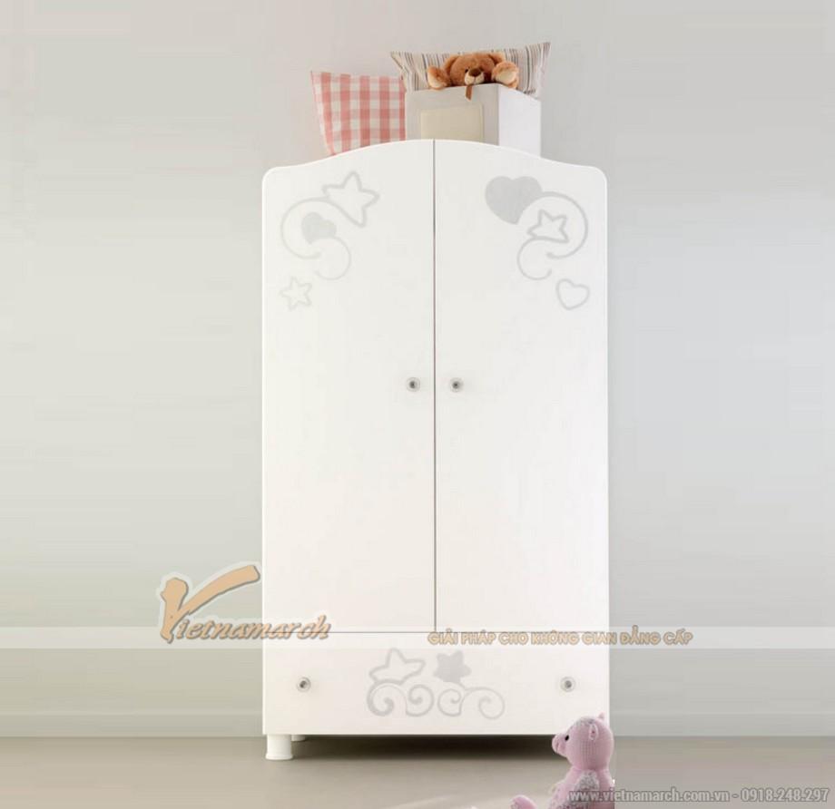 Bộ sưu tập mẫu tủ quần áo bé gái tone trắng dịu dàng tinh tế