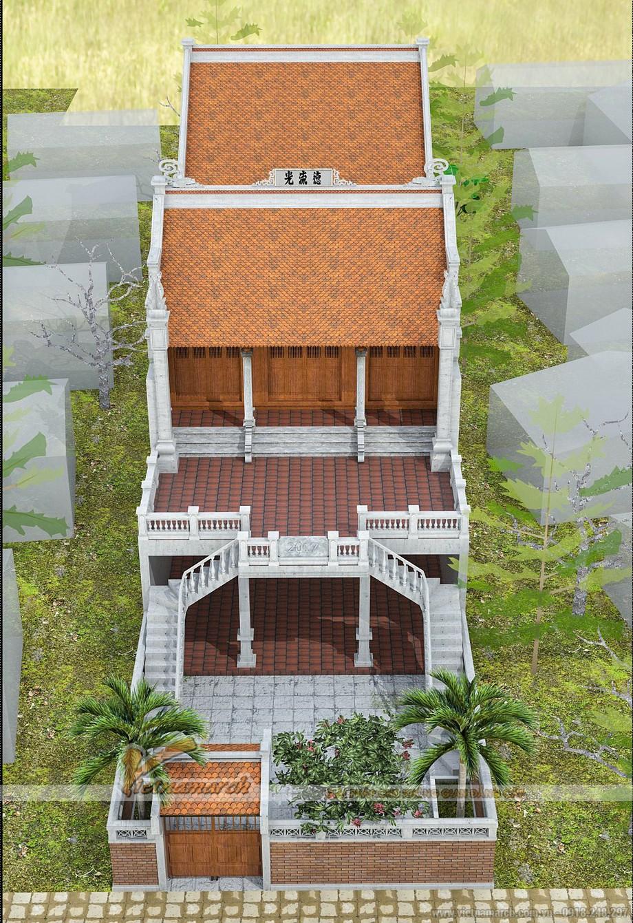 Phối cảnh tổng thể ngôi nhà thờ 2 tầng được KTS Vietnamarch tư vấn thiết kế tại Hồ Chí Minh