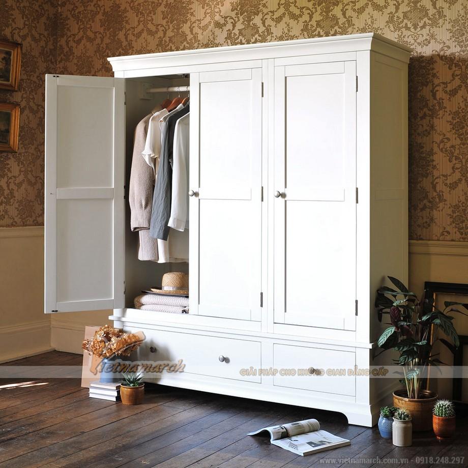 Làm mới không gian phòng ngủ với mẫu tủ quần áo tone màu trắng