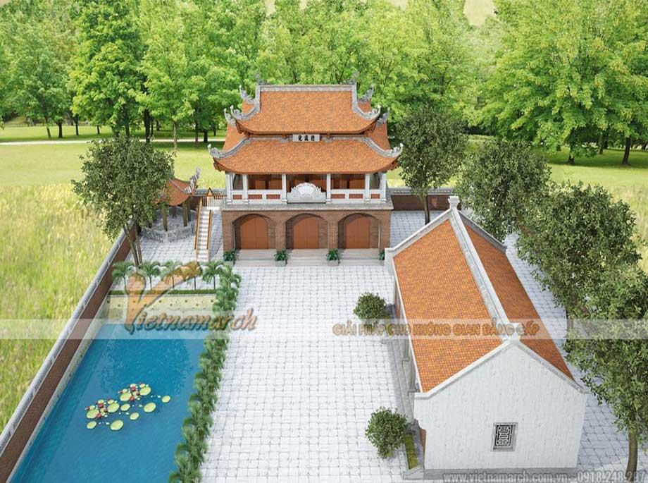 Khuôn viên sân vườn với hồ nước và chòi nghỉ lục giác của công trình nhà thờ họ 2 tầng 8 mái tại Bắc Giang
