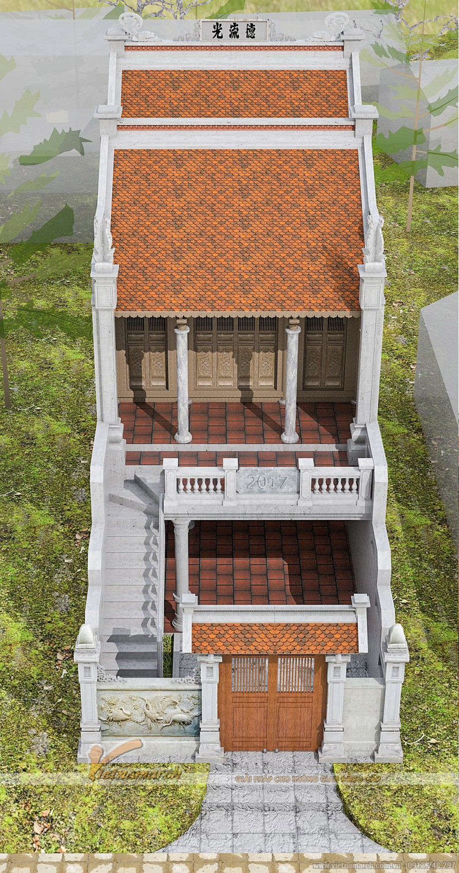 Phối cảnh ngôi nhà thờ họ 2 tầng tại Nam Định