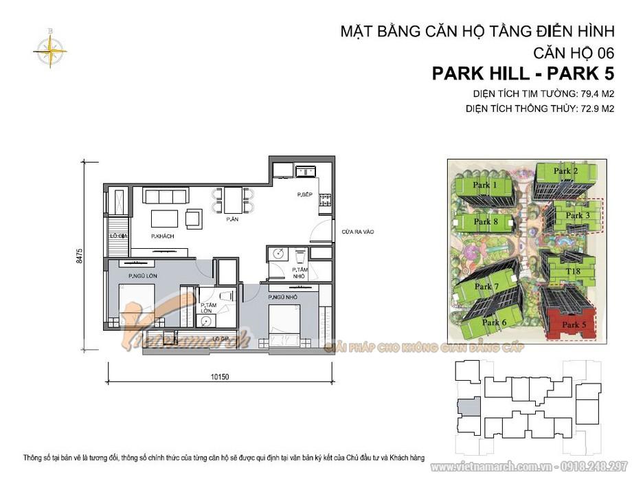 Mặt bằng căn hộ 73m2 căn 06 Park 5