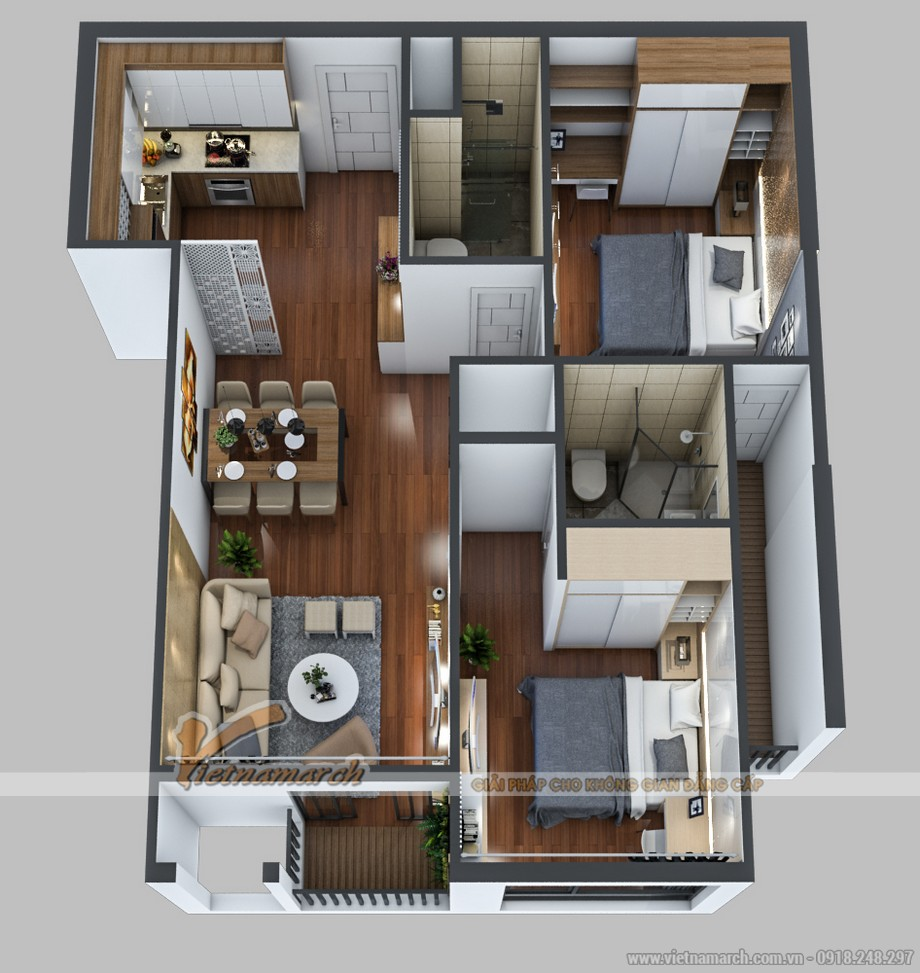 Phương án thiết kế nội thất căn hộ 06 tòa Park 5 chung cư Park Hill – Times City