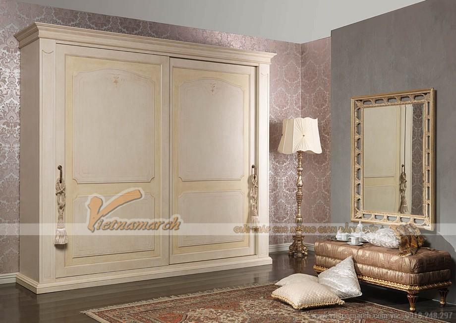 Tạo hiệu ứng cho không gian phòng ngủ với mẫu tủ quần áo tân cổ điển