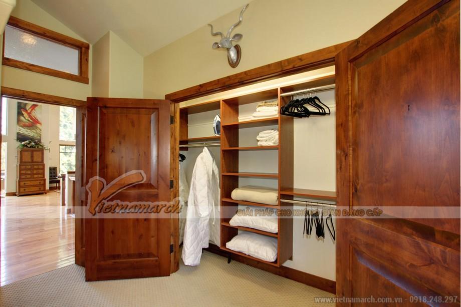 Mẫu tủ quần áo bằng gỗ tự nhiên giúp cho không gian phòng ngủ sang trọng hơn 05