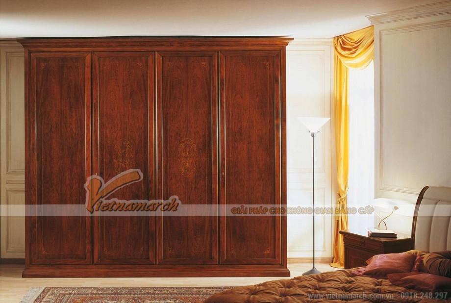 Mẫu tủ quần áo bằng gỗ tự nhiên giúp cho không gian phòng ngủ sang trọng hơn 07