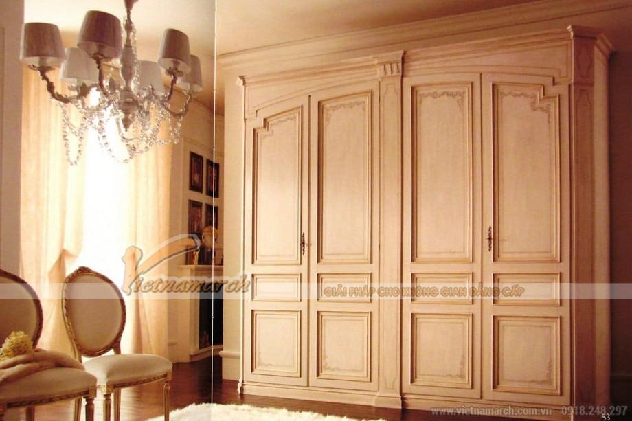 Thiết kế phòng ngủ cổ điển, lãng mạn với mẫu tủ quần áo cổ điển sang trọng
