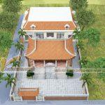 Thiết kế kiến trúc nhà thờ dòng họ 4 mái liền nhà ngang nhà anh Minh