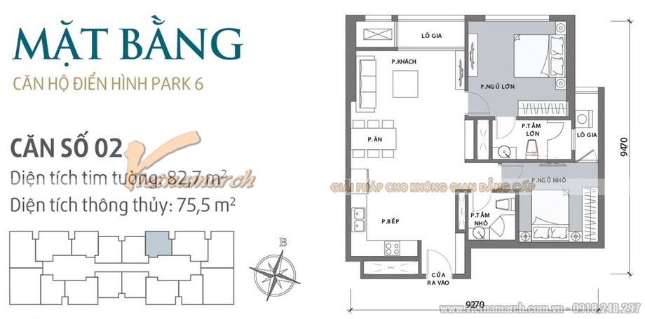 Mặt bằng thiết kế căn hộ 02 tòa Park 6 Park Hill - Times City