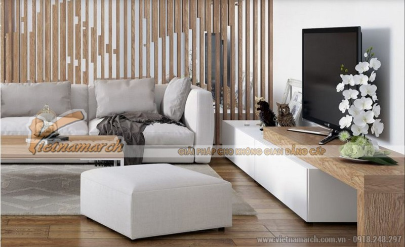 Phòng khách ấn tượng với vách gỗ hiện đại