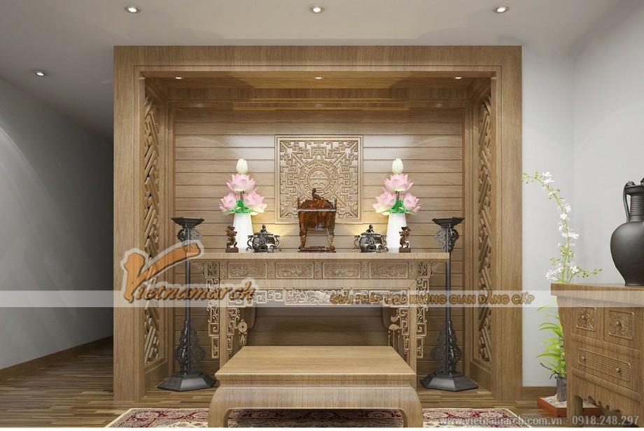 Tạo không khí trang nghiêm, ấm áp cho phòng thờ với bàn thờ truyền thống